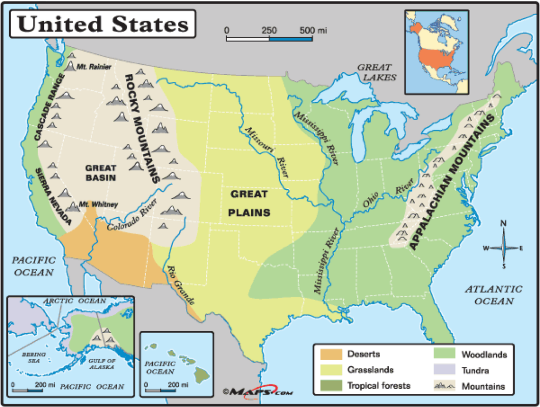 Physical Map United States - The us map labeled